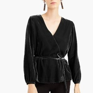 J Crew Faux Wrap Velvet Top in Black